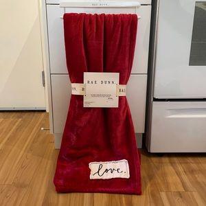 New Rae Dunn Red Love Throw Blanket